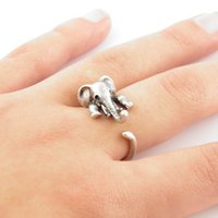 antique indian bronzes - 10pcs New Elephant Animal Wrap Ring in Antique Silver and Bronze color for Woman Unique Rings JZ301