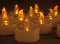 Wholesale Wholesales Set Of Battery Operated AMBER LED Flameless Tealight Candles Outdoor Festival Home Party Wedding Decoration