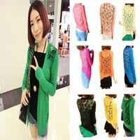 Wholesale 2015 New Fashion Women s Long Sleeve Women s Lace cardigan hollow out Knit Sweater Casual Coat Top Blouse Crochet FYE2681