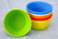 Wholesale 5cm Candy Color Silicone Cake Baking Moulds Muffin Cup Cake Moulds FDA SGS Non toxic Tasteless Non stick Bakeware Cupcakes