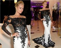 Wholesale 2014 Sexy Sheer Long Sleeves and Black White Evening Dresses Mermaid Lace Court Train Celebrity Red Carpet Prom Gowns
