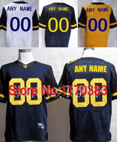 Cheap Factory Outlet- Personalized West Virginia Mountaineers (WVU) Jerseys Customized Stitched American College Football Jerseys White Blue Yello