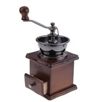 antique coffee makers - Mini Manual Coffee Mill Wood Stand Bowl Antique Hand Coffee Bean Grinder S7NF