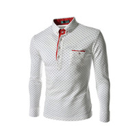 Wholesale S5Q Men Cotton Long Sleeve s Casual T shirts Polo Shirt Slim Fitted Blouse Tops AAAEKW