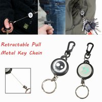badge belt clip - Fashion Design Retractable Pull Chain Key Chain Ring Badge Reel ID Card Holder With Belt Clip Steel Wire cm HIK_103