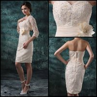 Cheap 2015 Mother of the Bride Dresses Sweetheart Knee Length Champagne Lace Beads Backless Hand Made Flower Sash Mother of the Groom Dresses