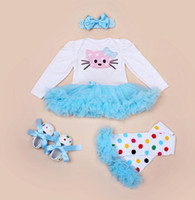 best european bands - Best price Cartoon KT gauze dress Newborn cotton long sleeved leotard package fart Toddler shoes bow hair band cover socks Romper B26
