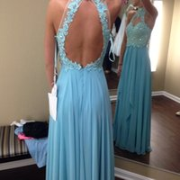 Wholesale Sky Blue High Neck Appliqued Prom Dresses A line Beaded Chiffon Backless Dress Party Evening Custom Made Sheer Pleats High Quality