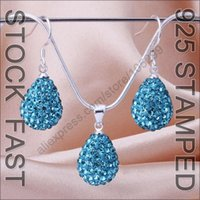aquamarine drop earrings - Fast Free Ship Sterling Silver Aquamarine Water Drop Shamballa Necklace Earring Jewelry Austrian Crystal Women Gift Set