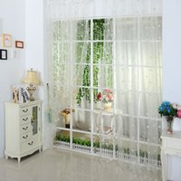 Wholesale 3 Color Tulle Voile Door Window Heart Printed Curtain Drape Panel Sheer Scarf Valance