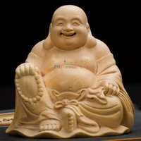 wood carving statue - Chinese Home Decor Wood Crafts Chinese Feng Shui hand carved wood carving boxwood Laughing Buddha Statue Lucky