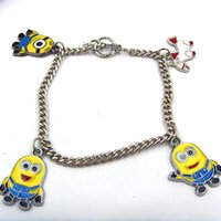 alloy paint colors - Zinc Alloy Painting Despicable Me Minions Pegman Bracelets new Statement Jewelry yellow colors