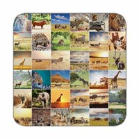african wildlife animals - Creative African Animal wildlife Collages Print Custom Mat Drink Tea Cup Cork Coasters Pack of