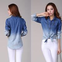 gradient denim shirt - Promotion Retail Womens Denim Button Down Shirt Lape Long Sleeve Gradient Color Jeans Blouse Tops