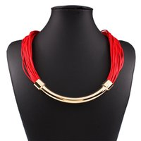 bib necklaces for sale - 2016 New Handmade Multilayer Rope Statement Necklace For Women Jewelry Ethnic Choker Chain Boho Bib Unique Design Hot Sale