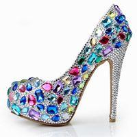 Wholesale Luxury Rhinestone Crystal Wedding Dress Shoes Platform Round Toe Stiletto Heels Multi color cm Prom Party Evening Bridal Accessories