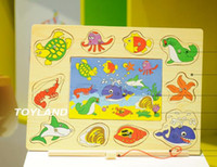 Wholesale Exempt postage wooden toys magnetic fishing board cartoon jigsaw puzzles children s toys ocean fishing board