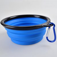 Wholesale Silicon Silicone Collapsing Collapsible Pet dog cat puppy feeding Bowl Bowls Expandable Travel Dish with carabiner clip hook FAST SHIPPING