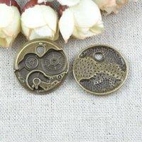 Cheap 40pcs lot A1504 Vintage Bronze Zinc alloy clock mechanism DIY Accessories Circle Jewelry Findings,clock watch movement charm