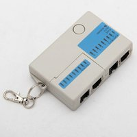 Wholesale 2015 New Mini RJ45 RJ11 Cat5 Cat6 Network LAN Cable Tester with Keychain LEDs Ethernet Cord Tracker Detector DHL