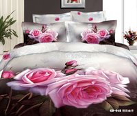 Wholesale 6PCS per SET Organic Cotton d printed big flower D Bed Linen comforter Fitted Sheet GD048