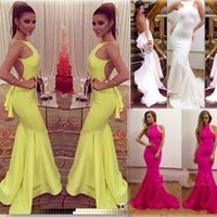 amazing material - 2015 Amazing Sexy Crew Neck Hot Yellow Mermaid Evening Dresses Michael Costello Sexy Backless Formal Ruffles Prom Gowns Stretch Material