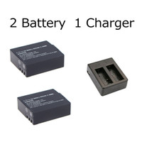 Wholesale 2Pcs Action Camera battery charger mAh V Rechargeable Li ion Spare Battery CHARGER For Action Camera Accessories