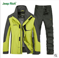 Wholesale 2015 tracksuits men sport suit men outdoor camping hunting jackets man clothing sets spring jacket pants suit brand jeeprich plus size