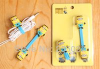 Wholesale 20sets Despicable Me The Minions earphone accessories anime minion headphone bandages free shiping