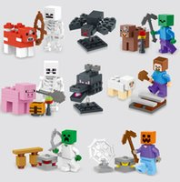 Wholesale 8 style Minecraft Steve Zombie Skeleton Enderman Building Block Toys Assembly Toys Compatible Action Toy Figures For Gift KL58