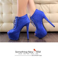 Wholesale 2015 New Fashion Women Pumps cm High Heel Platform Shoes Lace Up Spool Heels Western Style Round Peep Toe Party Shoes