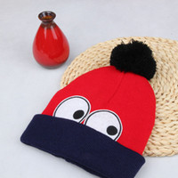 big active design - New Fashion Design Double Colors Wool Ball Big Winter Warm Eye Kids Knitted Hats Boys and Girls Beanies