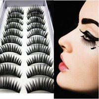 Wholesale 10pairs set False Hand made Eyelashes Blcak Curl Thick Eye Lashes Human Hair Eyes Makeup Eyelashes