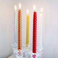 Wholesale Cheapest Birthday Party Cake Candles Spiral Candle Lamp Silver Gold Red Euro Vintage Wedding Candles Sparkle order lt no track