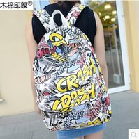 Wholesale Harajuku style hip hop graffiti shoulders bag Schoolbags Hip hop tide package Computer Backpack