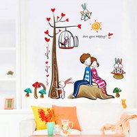 Wholesale Romantic Lovers Tree Removable Wall Stickers Home Decoration Decor Decal Art DIY Rooms Decals Adesivo De Parede Sticker Decals