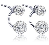 earring - 925 Silver White Purple Shambala CZ Diamond Ball Rhodium Plated Stud Earrings