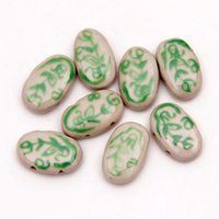 ceramic beads flower - 100pcs x24mm Oval Shape Green Flower Handcraft Beads Ceramic Porcelain Spacer Loose Beads Pendants Fit Necklace Bracelet Jewelry DH CH852