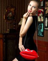 big leather hobo bags - New Popular Big Lips Pattern Women Bag Clutch Chain Shouder Bag Evening Bolsas Red Lips Shape PU Leather Handbags
