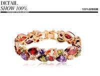 Wholesale New Hot Sell Multicolor Zircon Bracelet For Women Top AAA Zircon Top K Gold Platinum Plated Mona Lisa Bracelets water drop Bangles