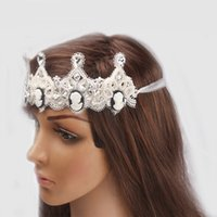 Wholesale 2015 shining glass stone hair accessory white cameo pearl bead decoration woman girl kids birthday party headbands elegant hair jewelry
