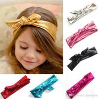 Headbands bandana ribbon - Shiny leather bow headband for children baby girls elastic metal color head wraps turban bands bandana headbands Children Headwear B269
