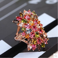 Rose Gold atmosphere size - New genuine natural tourmaline ring female models silver pink gold tourmaline ring atmosphere
