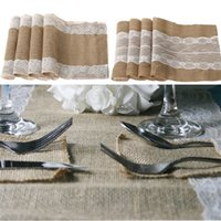 Wholesale 5 pieces Vintage Burlap Lace Hessian Table Runners Natural Jute Country Party Wedding Decoration supplies