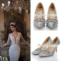 Wholesale 2014 Bling Beads Crystals Wedding Shoes cm High Heel Bridal Shoes Custom Made Party Women Shoes Silver Crystal Shoes For Wedding
