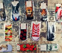 ladies socks - 2015 fashion lady s ankle sock lips cars dogs skull dollars lion D printed woman personality hosiery big girls socks short sock styles