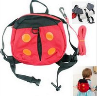 babies reins - Harness Removable Tether Strap Baby Kids Keeper Toddler Safety Rein Ladybird Backpack Bag Small Cute Red Convenient