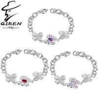 Wholesale 925 sterling silver bracelet butterfly crystal bracelets new fashion stock jewelry bracelet for women hot sale
