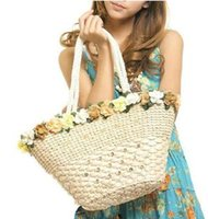 Wholesale Straw Tote Bag Beach Bag Floral Style New Arrival B2