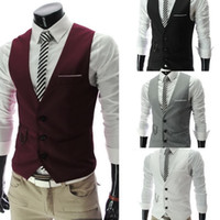 Wholesale 2015 New Men s Business Suit Slim Formal Casual Waistcoat Vest Fit Suits Wedding Costumes Black White Gray Burgundy